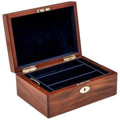 Victorian Mahogany Velvet Lined jewelry Box, 19th Century