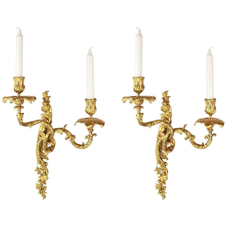 Pair of 19th Century Gilt-Bronze Louis XV Style Wall Lights