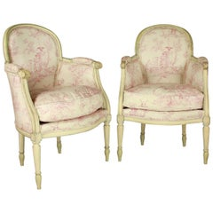 Pair of French 19th Century Louis XVI Style Painted Wood Armchairs or Bèrgères