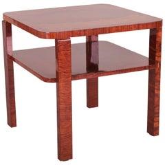 Small Square Art Deco Palisander Table, Period 1920-1929, Czechoslovakia