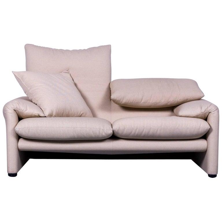 Cassina Maralunga Fabric Sofa Off-White Two-Seater