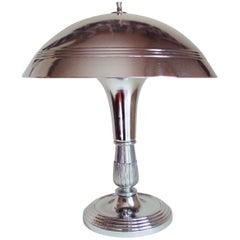 American Art Deco Chrome-Plated, Mushroom Shaded, Desk Lamp