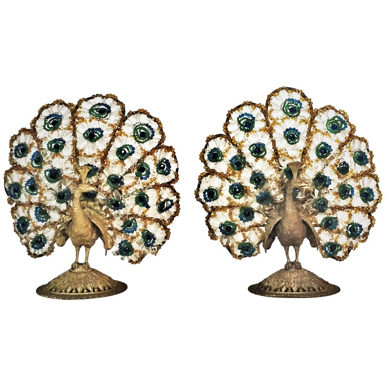 A Pair of Art Deco Bronze & Bohemian Crystal Peacock Nightstand Lamps, Ca. 1920s