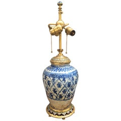 E.F. Caldwell Doré Bronze and Enamel Asian Antique Vase Mounted as a Lamp