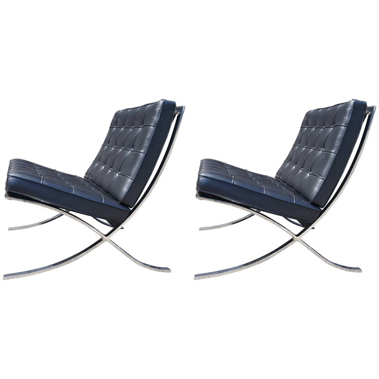 Pair of Black Leather Barcelona Chairs by Mies van der Rohe for Knoll
