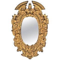 American Victorian Style Gilt Bronze Oval Wall Mirror Frame