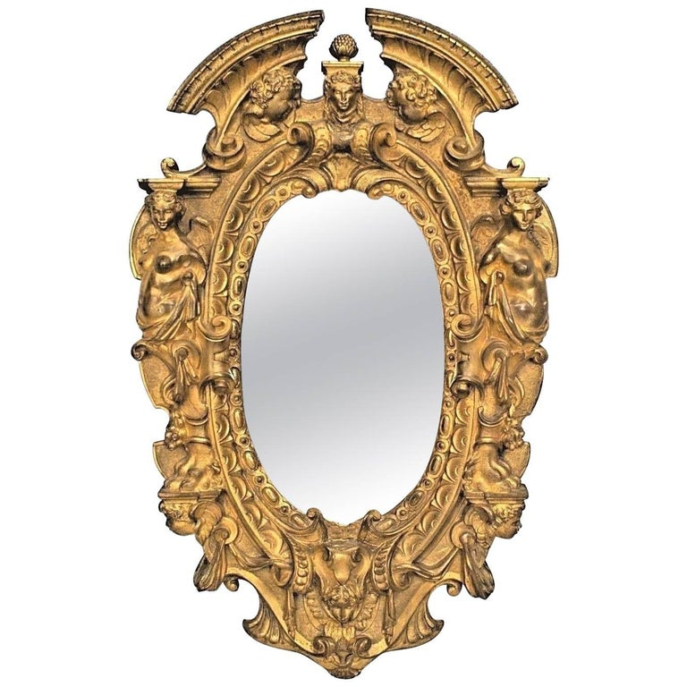 American Victorian Style Gilt Bronze Oval Wall Mirror Frame For