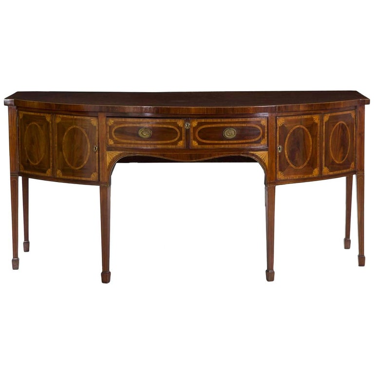 English George III Inlaid Mahogany Bowfront Sideboard, circa Late 18th Century