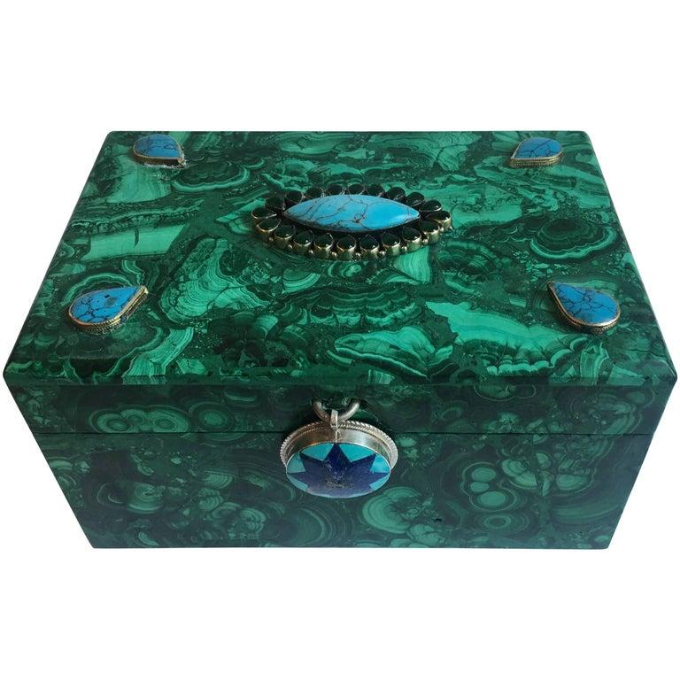 Russian Malachite Box with Sterling and Semi Precious Stones