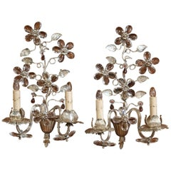 Pair of Mid-20th Century French Crystal and Silvered Sconces from Maison Bagues