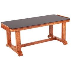 Small Coffee Table, Czech Art Deco, Material Walnut, Black Glass
