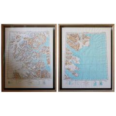 Framed Pair of Vintage Mid Century Soviet Maps of a Section of Greenland