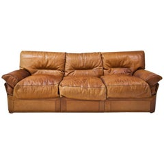 Three-seat Leather Sofa, 20th Century