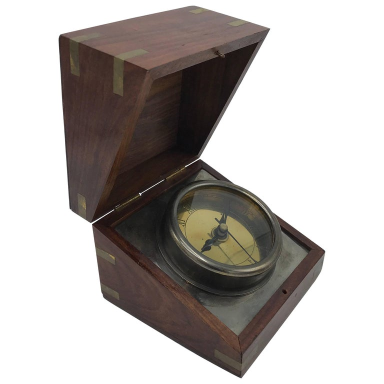 1960s Walnut and Brass Inlay Box Desk Clock For Sale