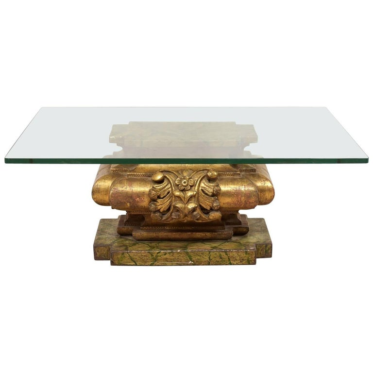 Italian 19th Century Carved Giltwood Coffee Table with Rectangular Glass Top