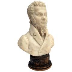 19th Century Italian Alabaster Gentleman Bust Figure signed Tabacchi