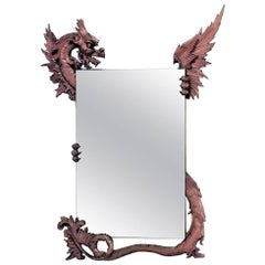 American Victorian Wall Mirror Frame Carved as Winged Griffin