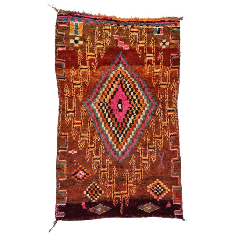 Vintage Berber Moroccan Boujad Rug with Tribal Style For Sale