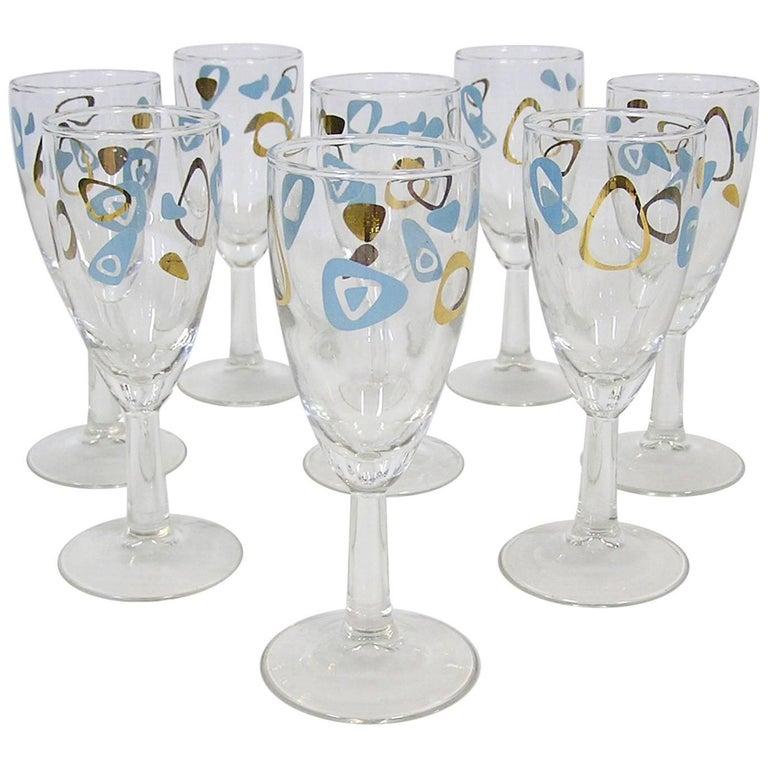 1950s Atomic Amoeba Boomerang Fluted Wine Glasses, Set of Eight
