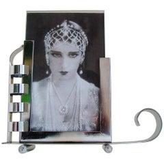 French Art Deco/Machine Age Asymmetrical Chrome Reversible Postcard Sized Frame
