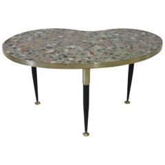 Italian Tile Marble Topped Brass Side Table