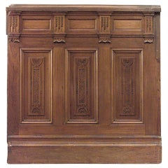 "American Victorian Walnut Carved Panels with 54"" Dado, 14 sections"