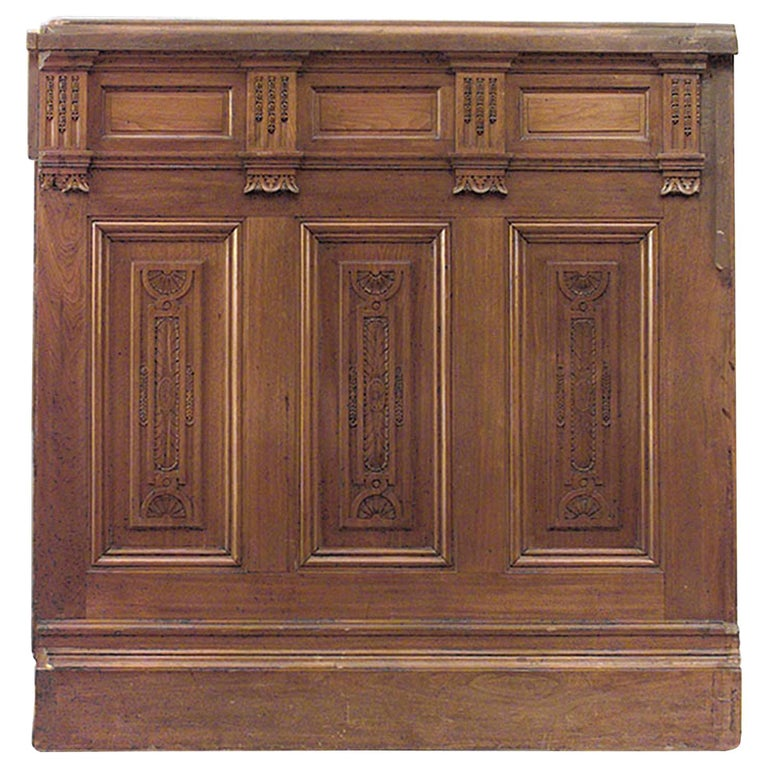 """American Victorian Walnut Carved Panels with 54"""" Dado, 14 sections For Sale"""