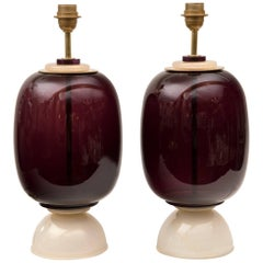 Lovely Vintage Pair of Gold Blown Tulip-Shaped Wall Lights with Cordonato Gold