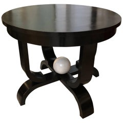 Art Deco Black and White Side Table, France, circa 1930