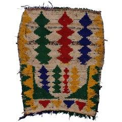 Vintage Berber Moroccan Boucherouite Rug, Colorful Moroccan Shag Accent Rug