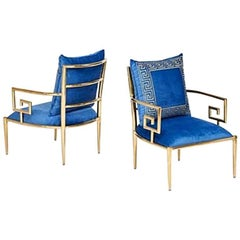 Pair of James Mont Style Brass Modern Design Greek Key Armchairs