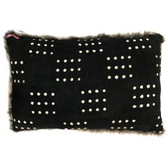 Michelle Nussbaumer Designed Italian Faux Fur Mudcloth Pillow (Squared Dots)