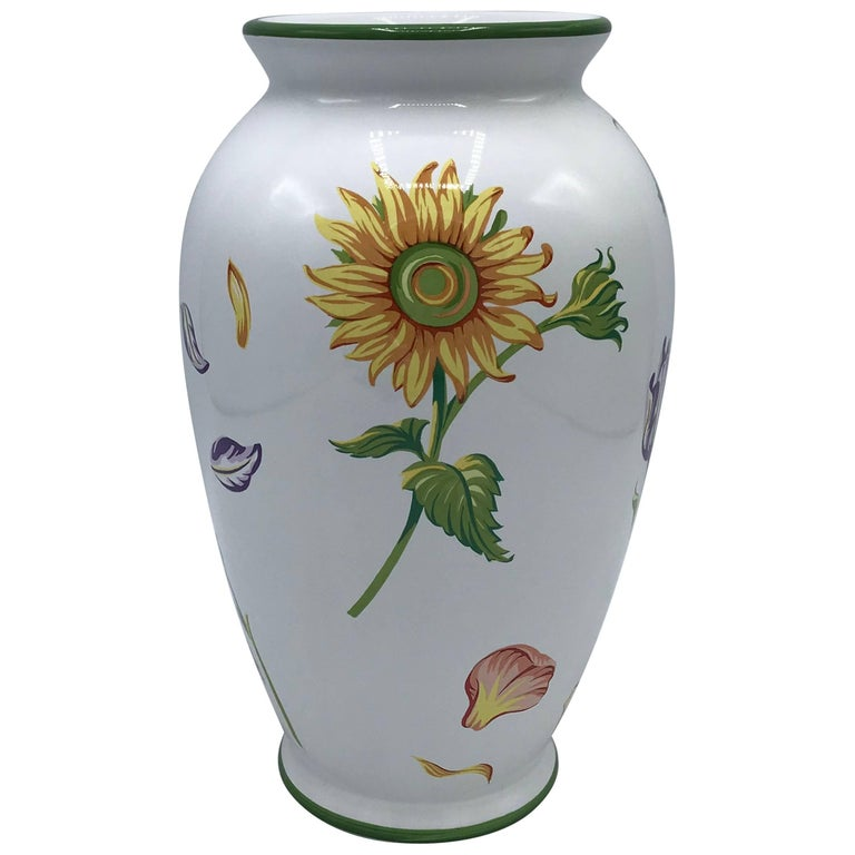 Tiffany And Co Tiffany Petals Ceramic Vase With Floral Motif