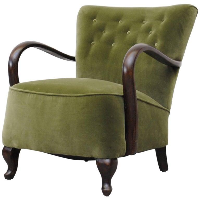 Theo Ruth Inspired Olive Velvet Lounge Chair