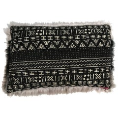 Michelle Nussbaumer Designed Italian Faux Fur Mudcloth Pillow (Mixed Pattern)