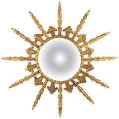 French 1950s Gilt Metal Hollywood Regency Sunburst Convex Mirror