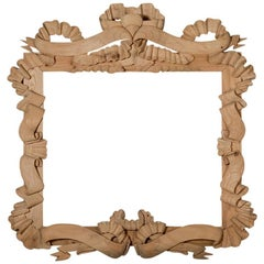Hand Carved Pine Frame With Large Ribbon