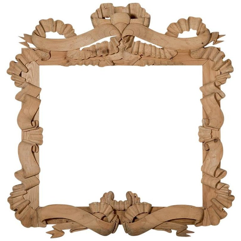 Hand Carved Pine Frame With Large Ribbon For Sale