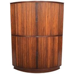 Danish Modern Rosewood Tambour Corner Cabinet