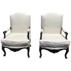 Pair of French Louis XVI Style Armchairs Bergere