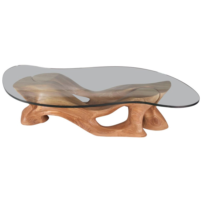 Crux Coffee Table Solid Wood Organic Shaped Gl By Amorph For