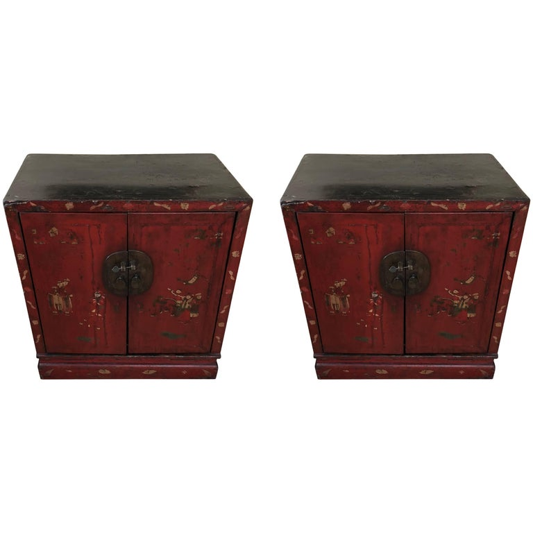 Pair of Chinese Red Lacquered Cabinets