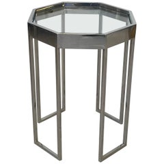 1970s Milo Baughman Chrome Octagonal Cocktail Side Table