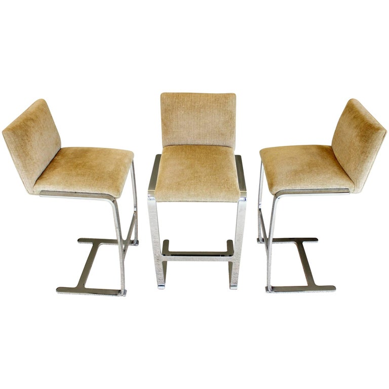 Mid-Century Modern Set of three Mies van der Rohe for Knoll Brno Bar Stools