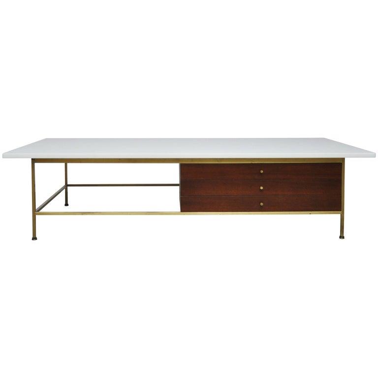 Paul McCobb Brass Frame Coffee Table For Sale