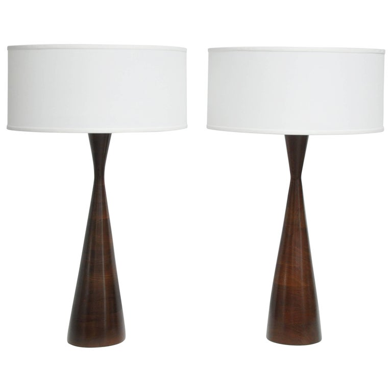 Phillip Lloyd Powell Stacked Walnut Lamps