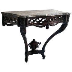 18th Century Carved Wood Console Table With Marble Top