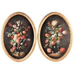 Pair of Antique Gilt Framed Oval on Canvas Floral Still Lifes