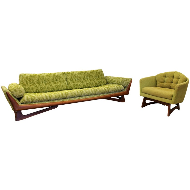 Mid-Century Modern Pearsall for Craft Assoc. Green Gondola Sofa Chair Set, 1960s