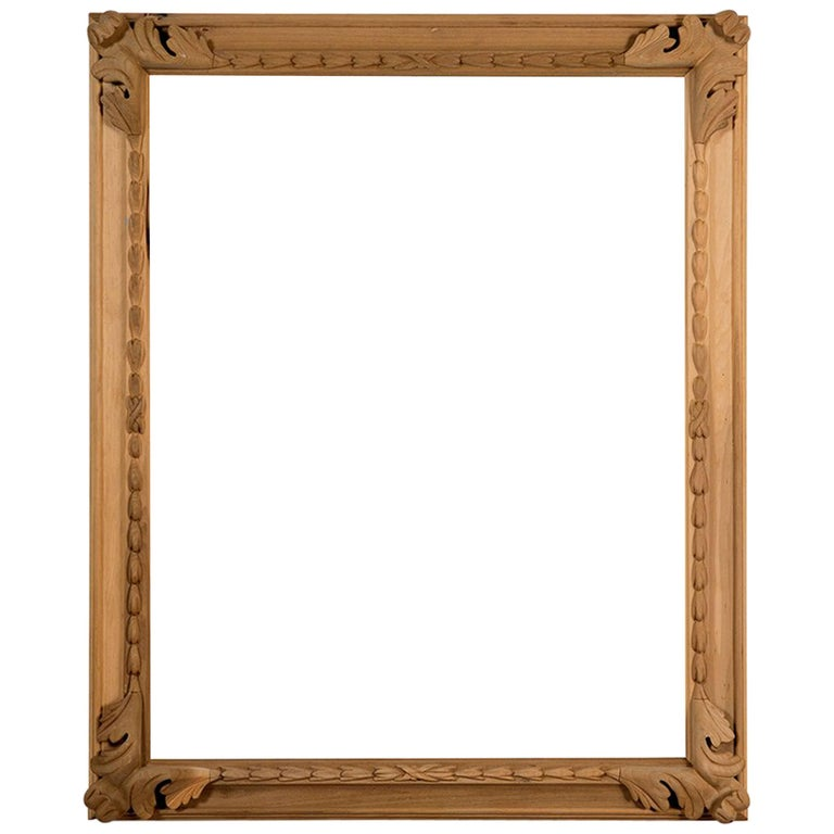 Hand Carved Poplar Frame with Large Acanthus Leaf Corners For Sale